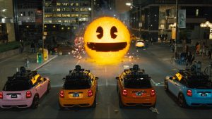 Remember Pac-Man? Hahaha! And cue car chase...